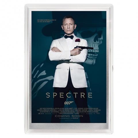 007 James Bond Spectre movie poster silver foil reverse