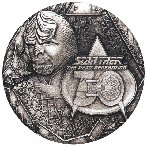 Star Trek:The Next Generation Lieutenant Commander Worf 2oz Silver Antiqued Coin