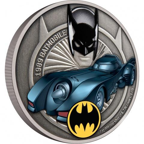 1989 Batmobile 1 oz silver coin reverse