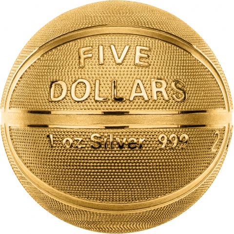 Baskerball 1oz Sphrecial silver coin 24K Plated