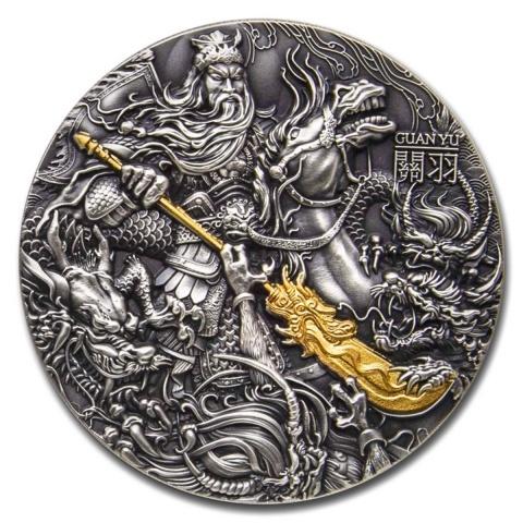 Guan Yu 2 oz silver coin 24K gilded antiqued