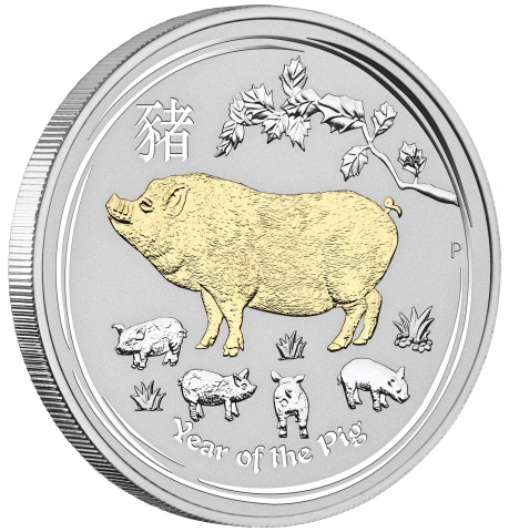 Year of the Pig 1 oz silver coin 24K Gilded