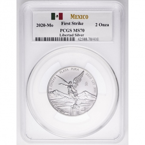 Mexican Libertad 2 oz Silver Coin PCGS MS70 reverse
