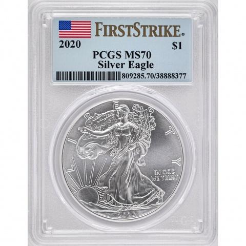 American Eagle 1oz silver coin MS70 USA 2020