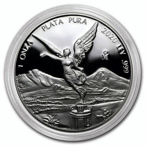 Proof Mexican Libertad 1 oz silver coin 2020 reverse