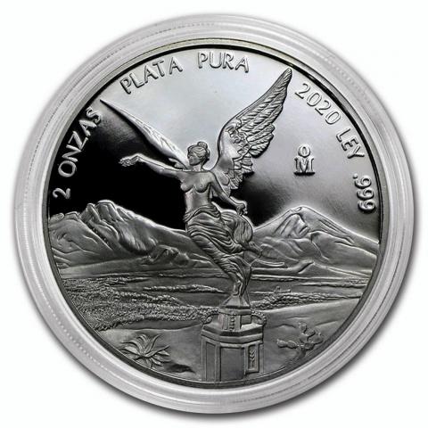 Proof Mexican Libertad 2 oz silver coin 2020 reverse