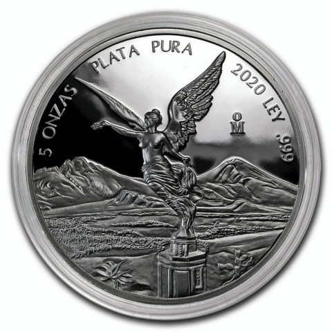 Proof Mexican Libertad 5 oz silver coin 2020 reverse