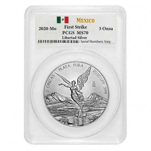 Mexican Libertad 5 oz Silver Coin PCGS MS70 reverse