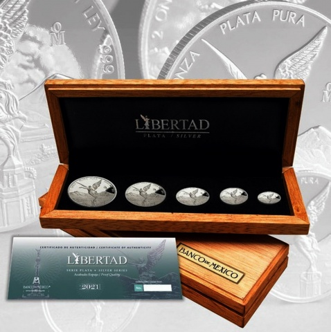 2021 Mexican Libertad 5 proof silver coin set reverse