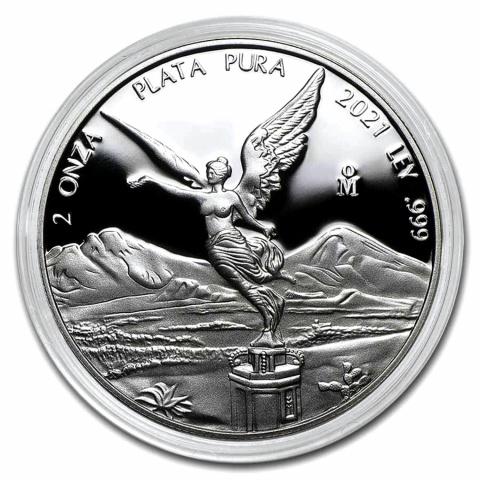 2021 Mexican Libertad 2 oz Proof Silver coin reverse
