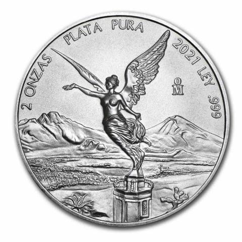 Libertad 2 oz silver coin BU Mexico 2021 reverse