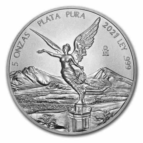 Libertad 5 oz silver coin BU Mexico 2021 reverse