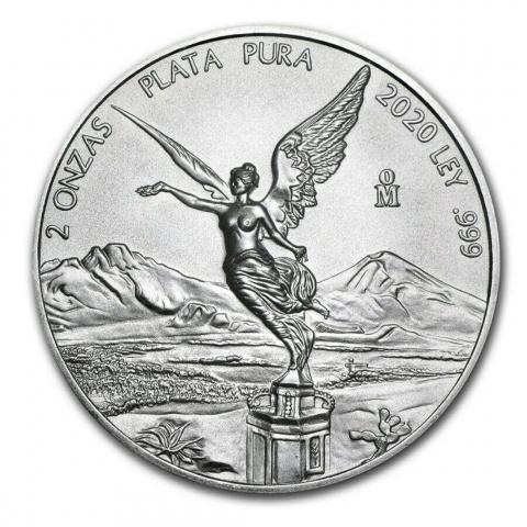 Mexican Libertad 2 oz silver coin BU reverse