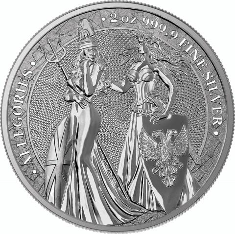 Britannia and Germania 2 oz Silver reverse