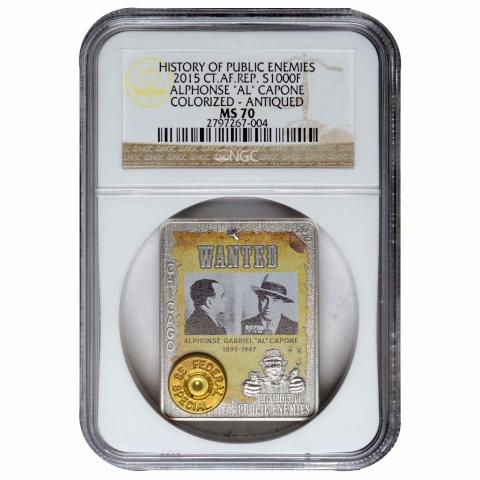 Al Capone 1oz coin CAR 2015  NGC MS 70