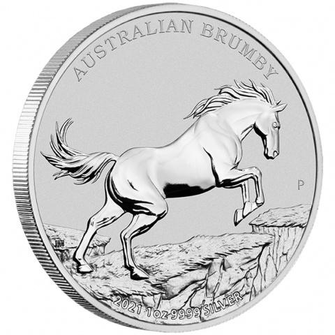 Australian Brumby 1 oz silver coin angled