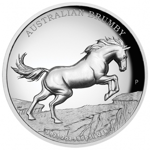 Australian Brumby 2 oz proof silver coin reverse