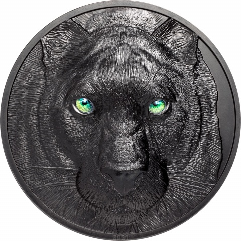 Black Panther 1 kilo silver coin obsidian black reverse