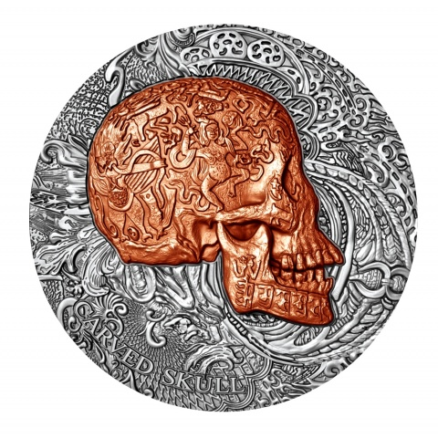 CARVED SKULL 1 oz Silver Coin Antiqued Copper Plated  Ultra High Relief