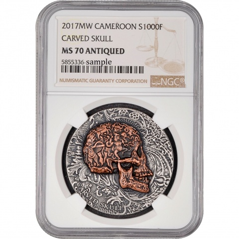 Carved SKULL NGC MS70 1 oz Silver Coin Antiqued Copper Plated