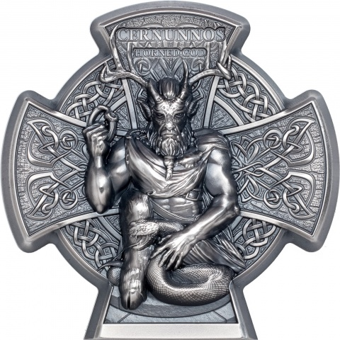 Cernunnos Horned God 3 oz silver coin reverse