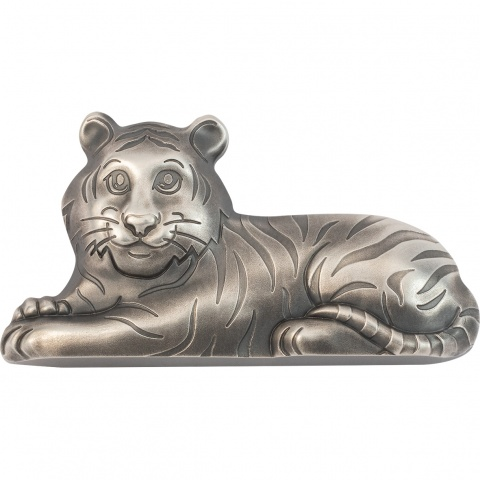 Charming Tiger 1 oz silver coin antiqued