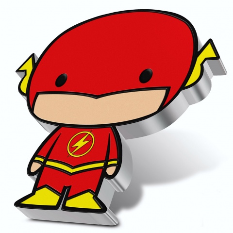 The Flash Chibi coin DC comics 1 oz silver coin reverse angled