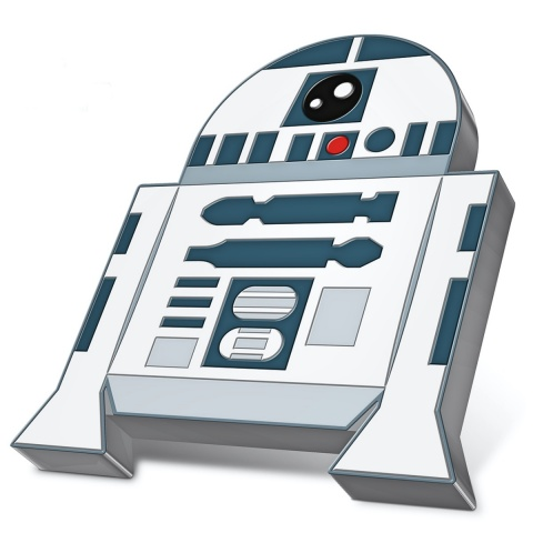 R2 - D2 Star Wars Chibi collection 1 oz Proof Silver Coin reverse angled