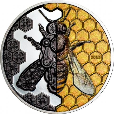 Mechanical Bee 3 oz silver coin reverse