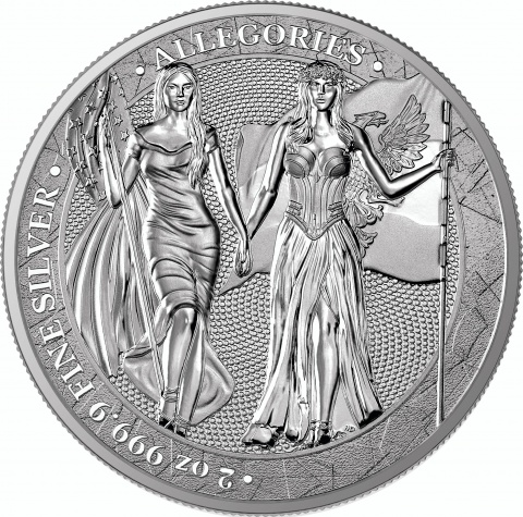 Columbia and Germania 2 oz silver round reverse