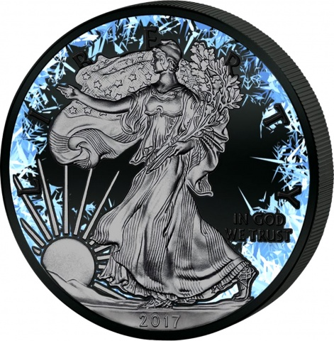 DEEP FROZEN American Eagle Silver Coin ruthenium plated