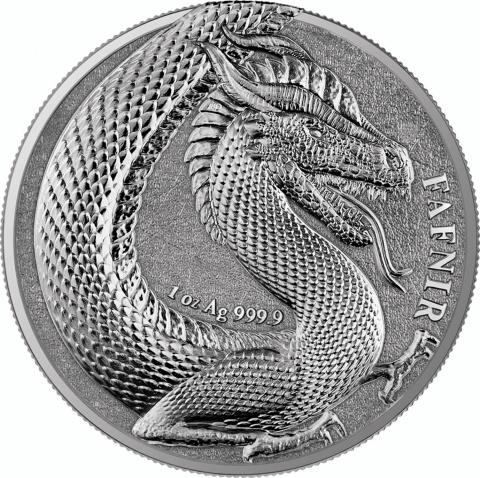 Fafnir 1 oz silver crown BU reverse
