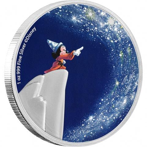 Disney's Fantasia The Sorcerer's Apprentice 1oz Silver Coin Proof revrerse