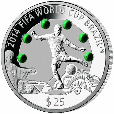Brazil 2014 Fifa World Cup  -Malachite  Silver Coin
