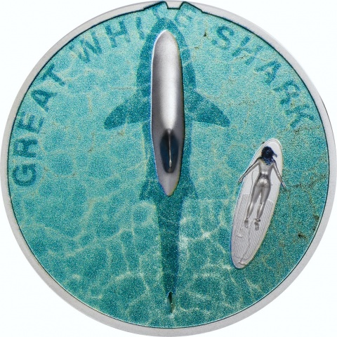 Great White Shark 1 oz proof silver coin