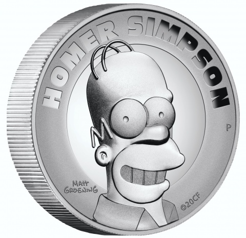 Homer Simpson 2 oz Silver Proof Coin High-Relief reverse