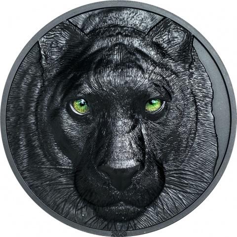 Black Panther 2 oz silver coin obsidian black