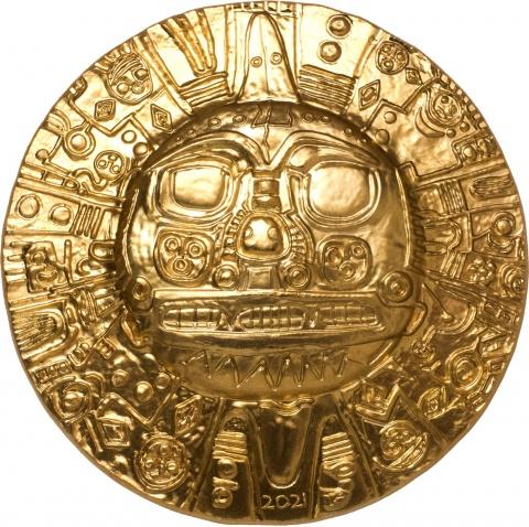 Inca Sun God 1 oz silver coin 24K gilded