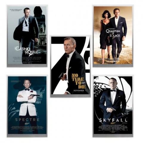James Bond Movie Poster silver foil Collection reverse