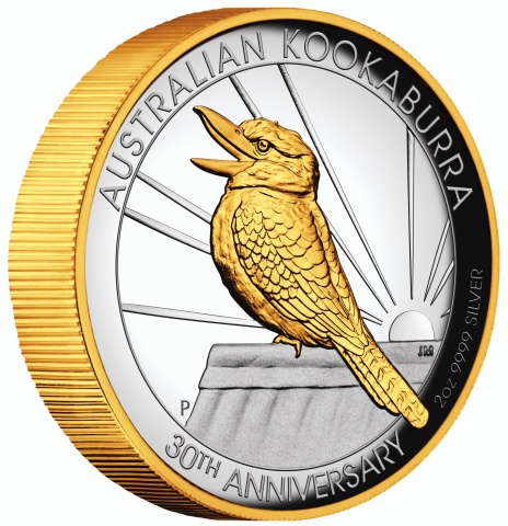 Australian Kookaburra 2oz Gilded High Relief Silver proof coin obverse