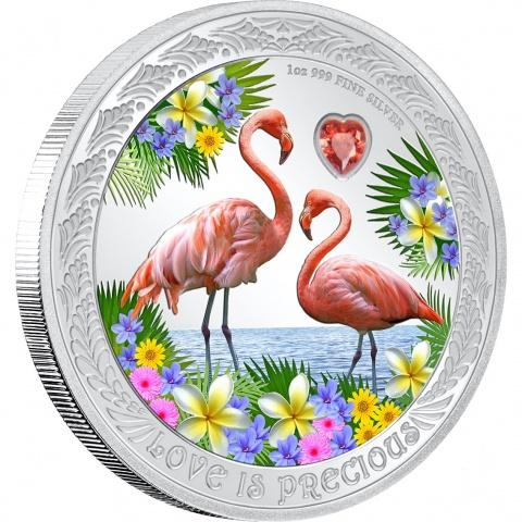 Love is Precious  Flamingos 1 oz Proof Silver Coin reverse