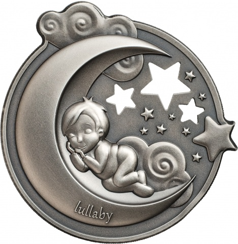 LULLABY-DREAMING BOY 1 oz high relief silver coin