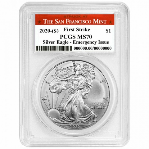 American Silver Eagle First Strike Emergency Issue MS70 reverse
