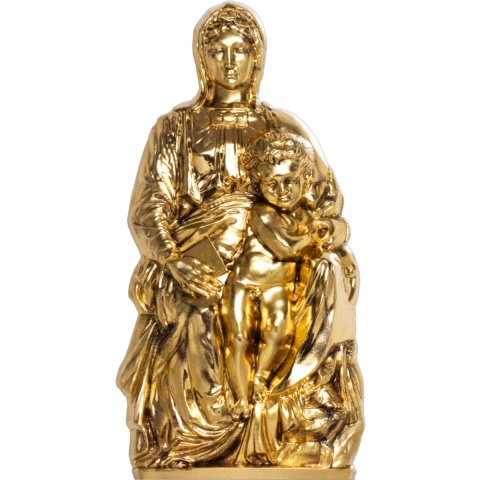 Madonna of Bruges 3oz High Relief Silver Coin Gilded Silk Finish