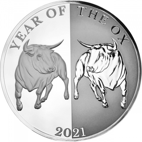 Year of the Ox Mirror Ox 65mm 1 oz silver coin Tokelau 2021