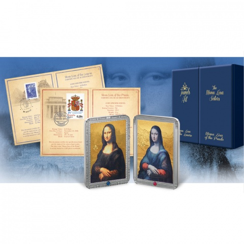 Mona Lisa Siblings Sisters 2 coins set with gemstones