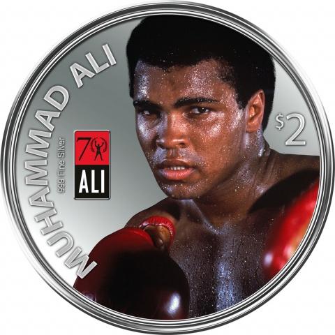 Muhammad Ali 1oz Ag.999 Silver coin $2 Fiji 2012 reverse
