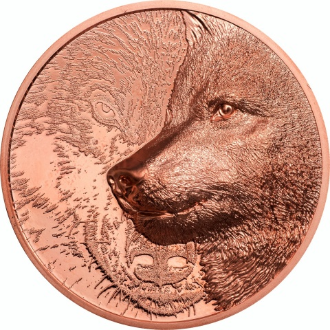 Mystic Wolf 50 g copper coin reverse