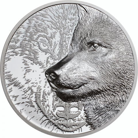 Mystic Wolf 1 oz silver coin reverse