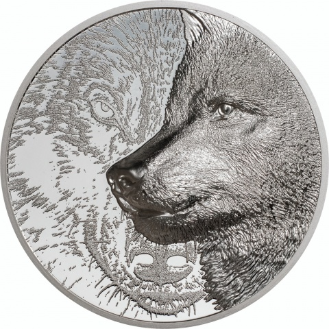 Mystic Wolf 3 oz silver coin reverse